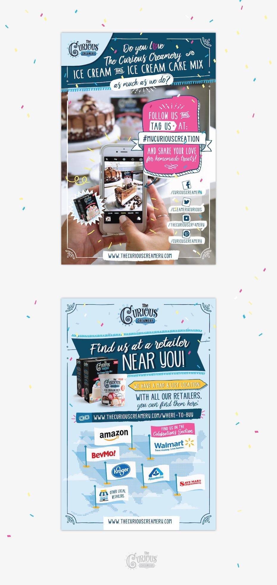 Flyer for ice cream and ice cream mix