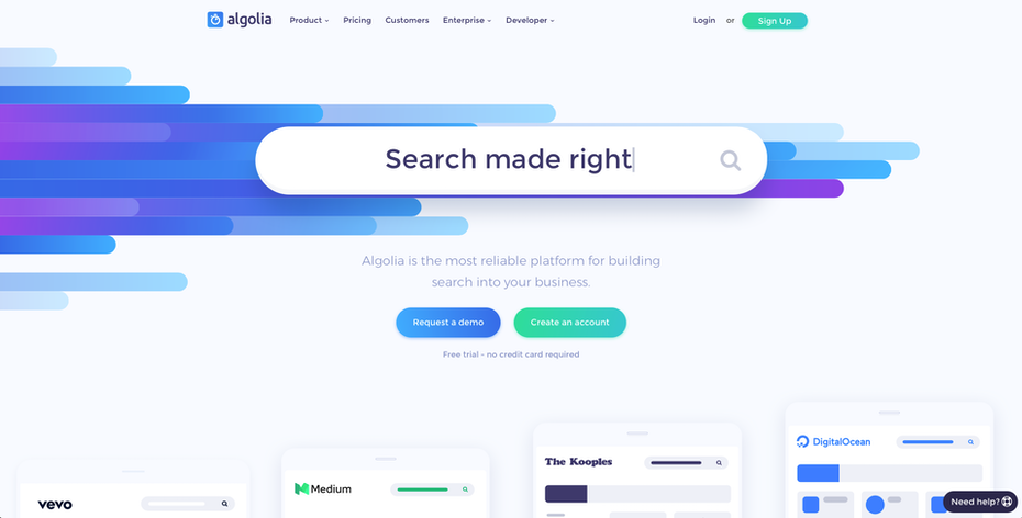 The search bar for Algolia's website