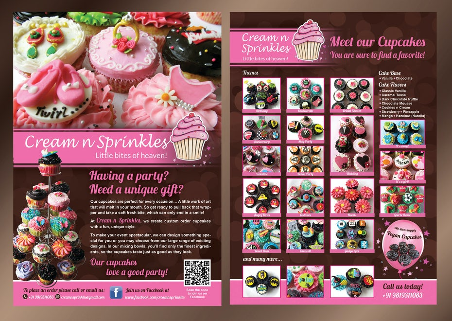 Flyer for cupcakes company