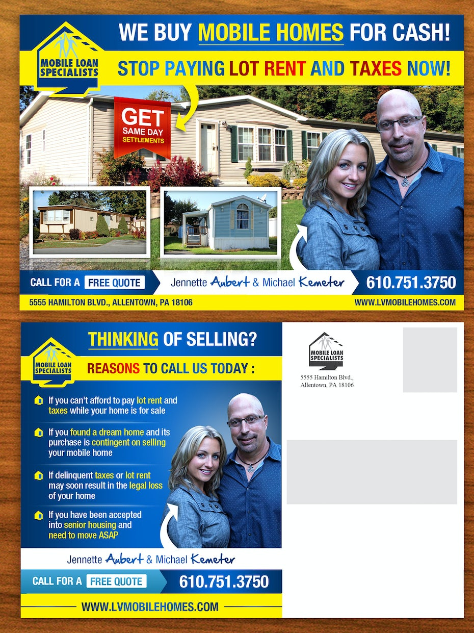 Flyer for a pre-owned mobile home sales company