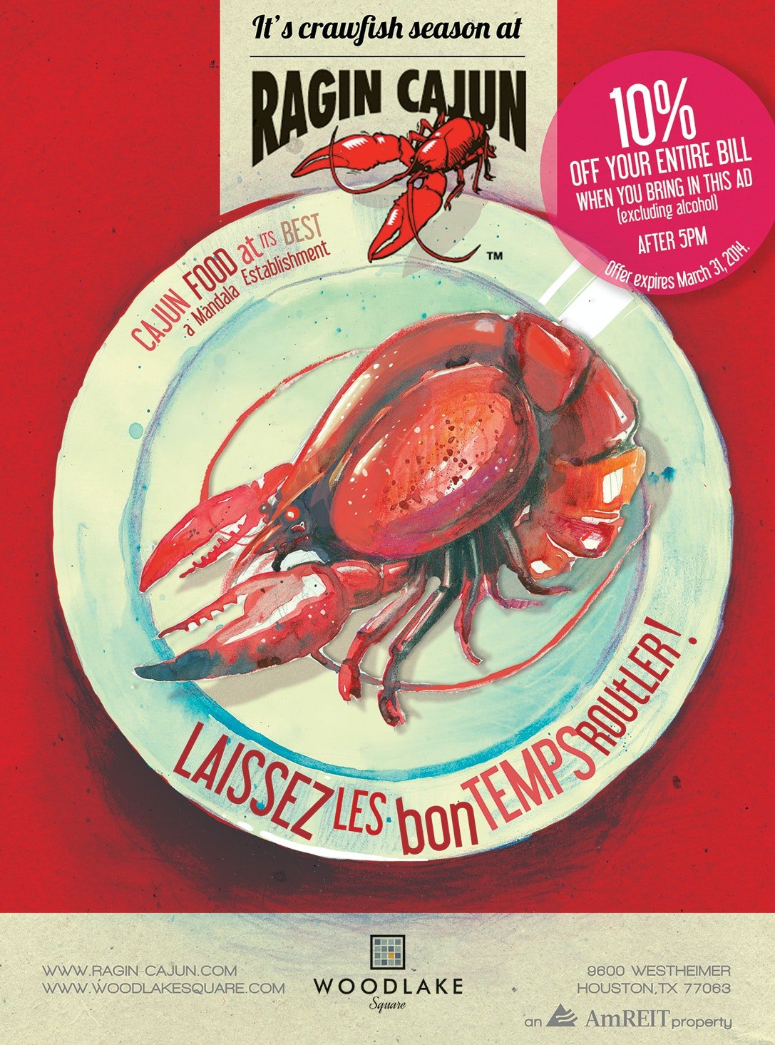 Flyer for Cajun restaurant