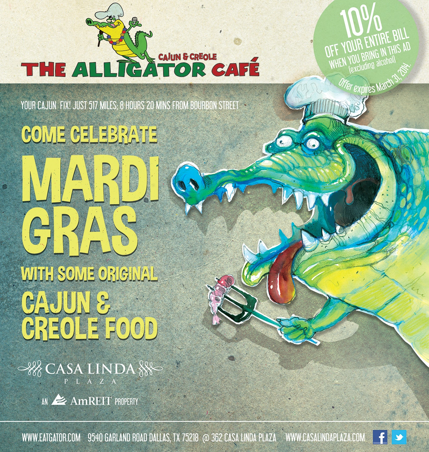 Mardi Gras flyer for a café