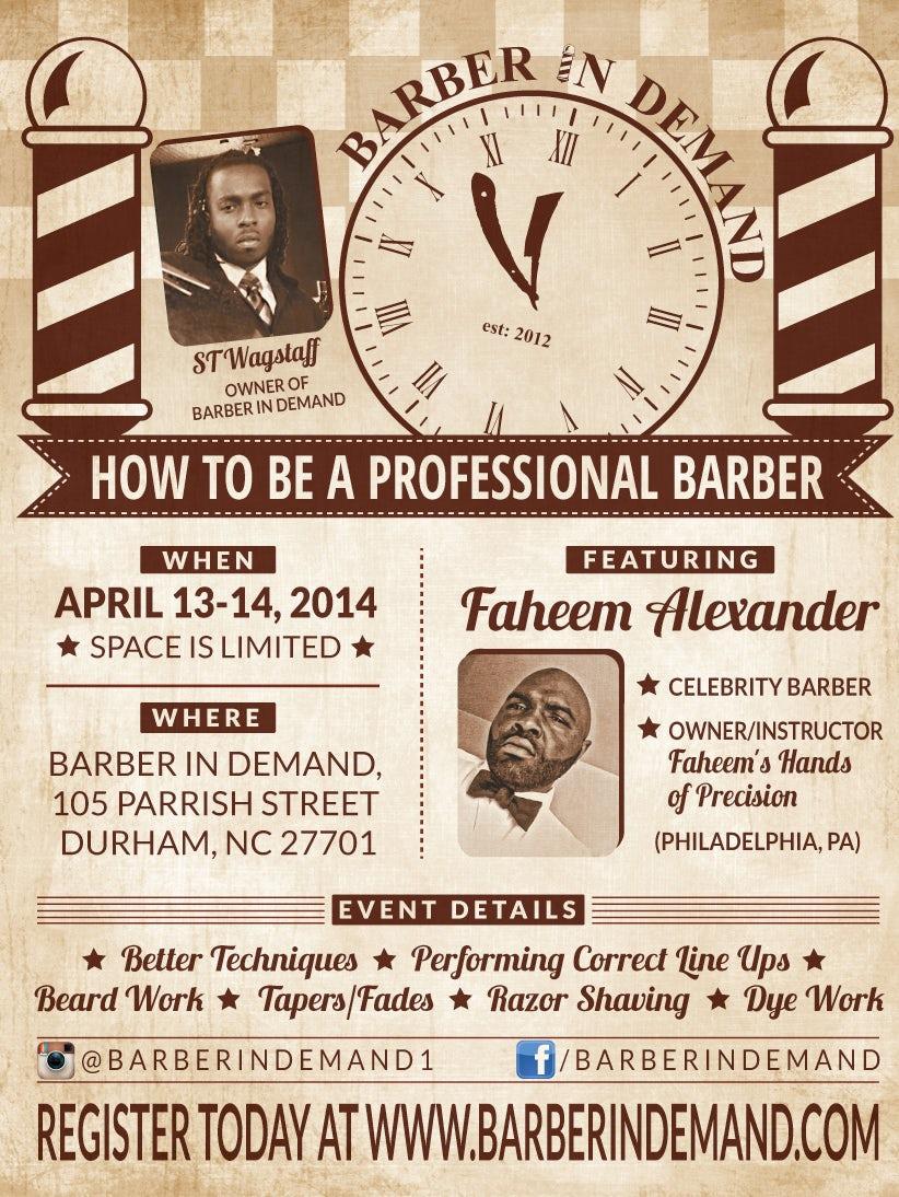 Vintage flyer for barber shop