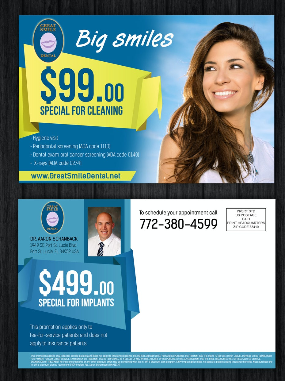 Flyer for a dental company