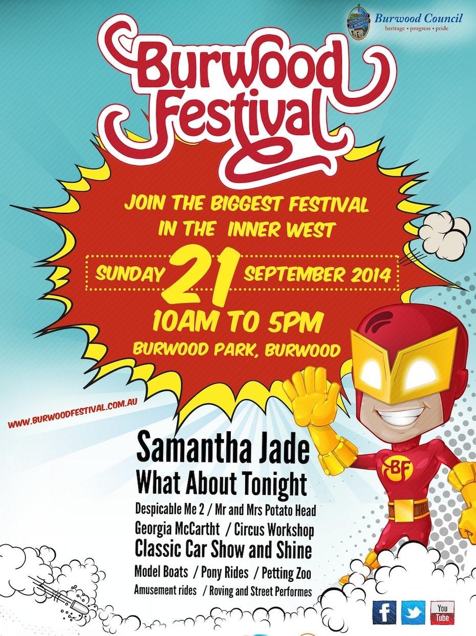 Cartoon flyer for a festival
