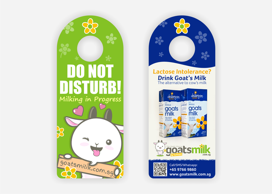Flyer for a milk company in the shape of a door knob hanger