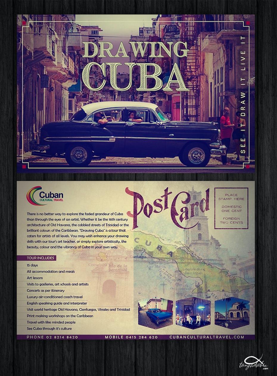 Postcard for travel company