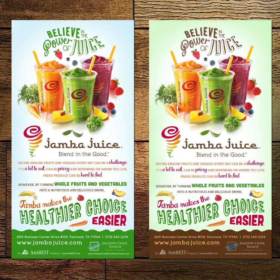 Flyer for juice store
