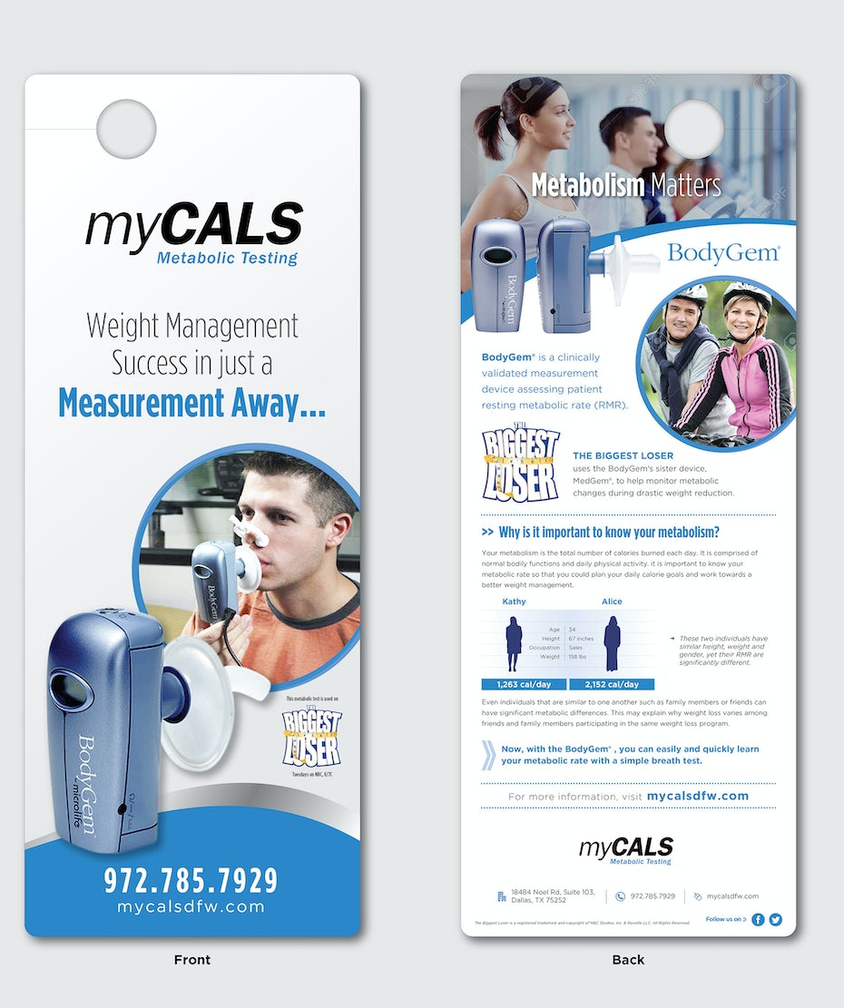 Flyer for a weight management company in the shape of a door knob hanger