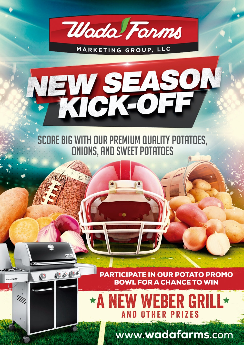 New season kick-off flyer with grill promotion