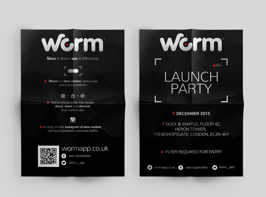 Flyer for a launch party