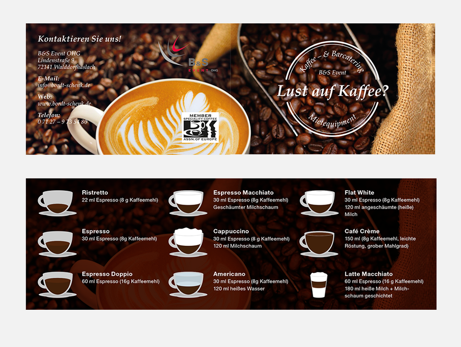 Flyer for a mobile coffee shop