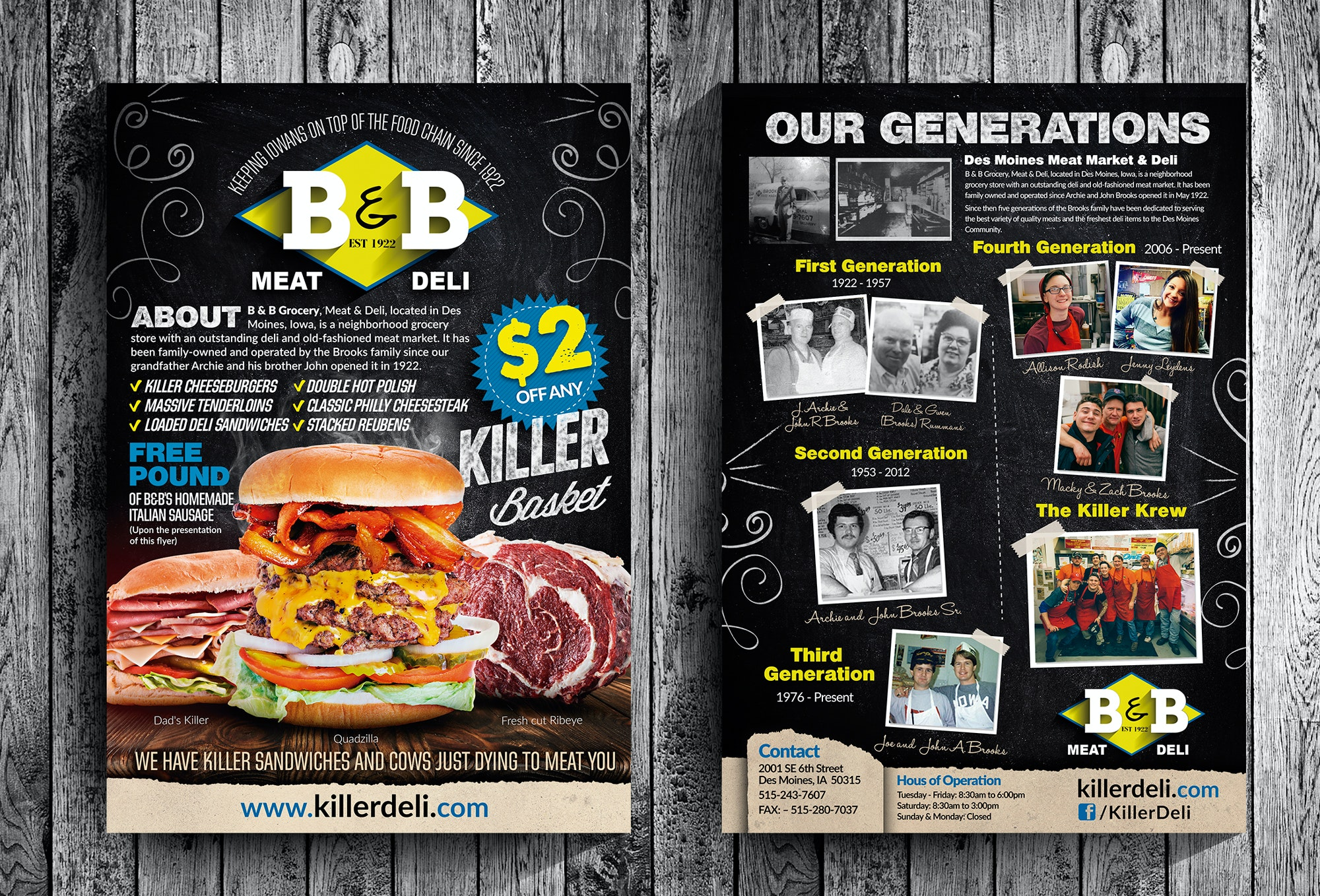 Flyer for a meat deli