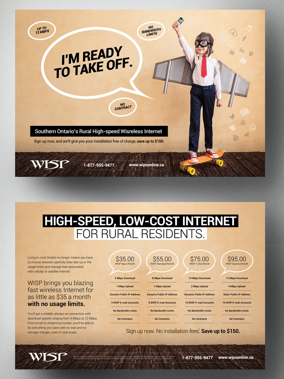 Postcard for an internet company