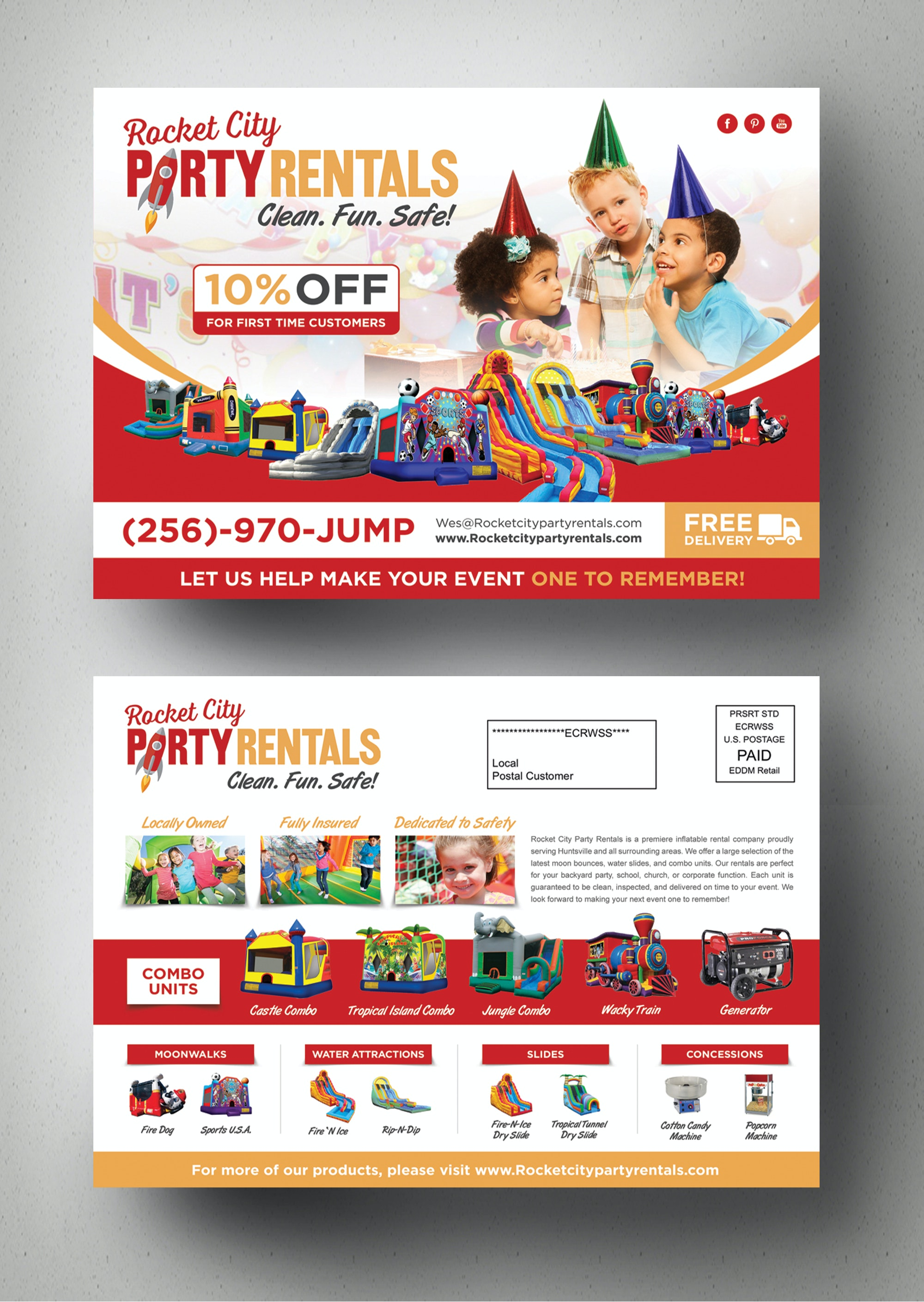 Flyer for party rentals company