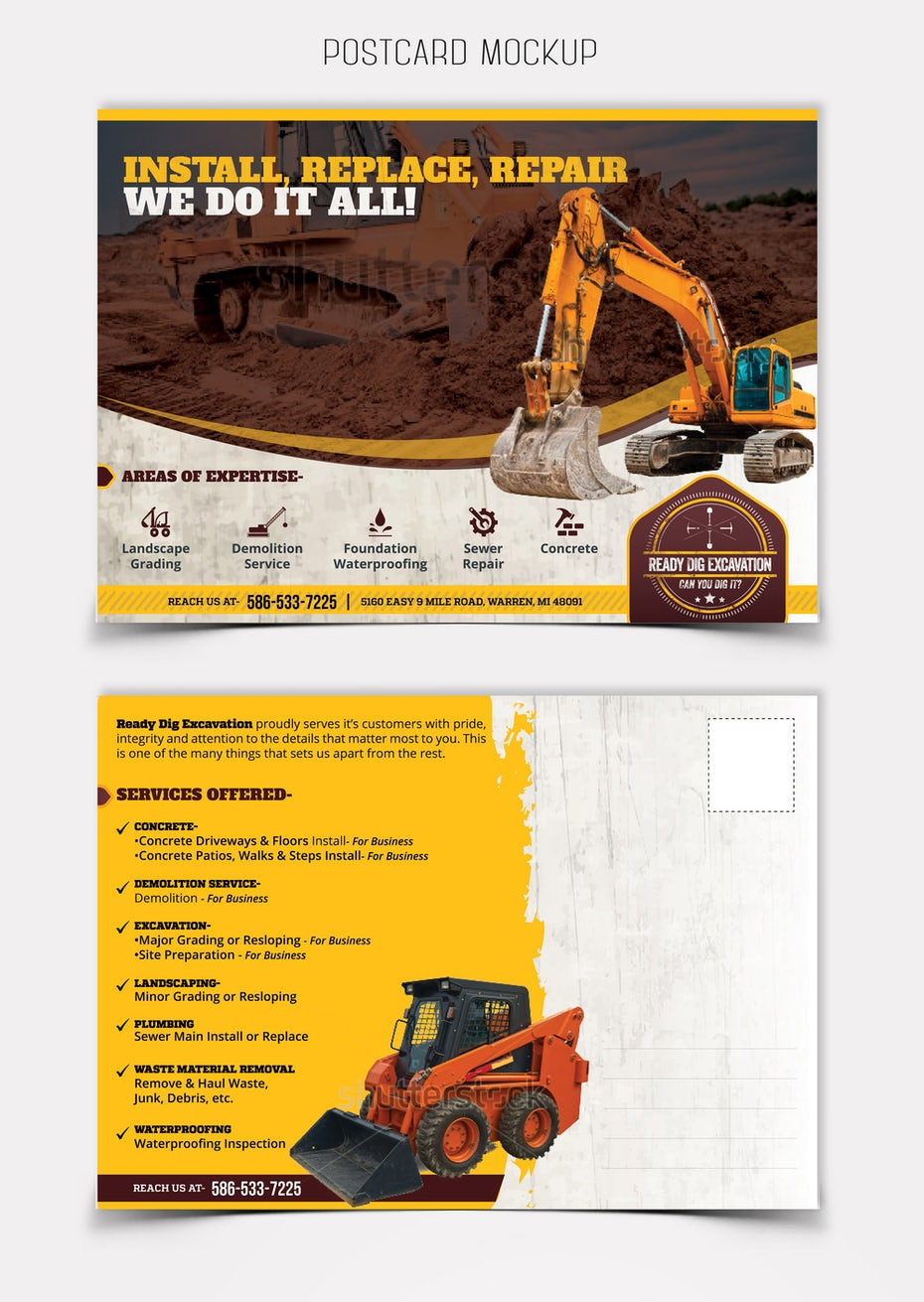 Flyer for an excavation company