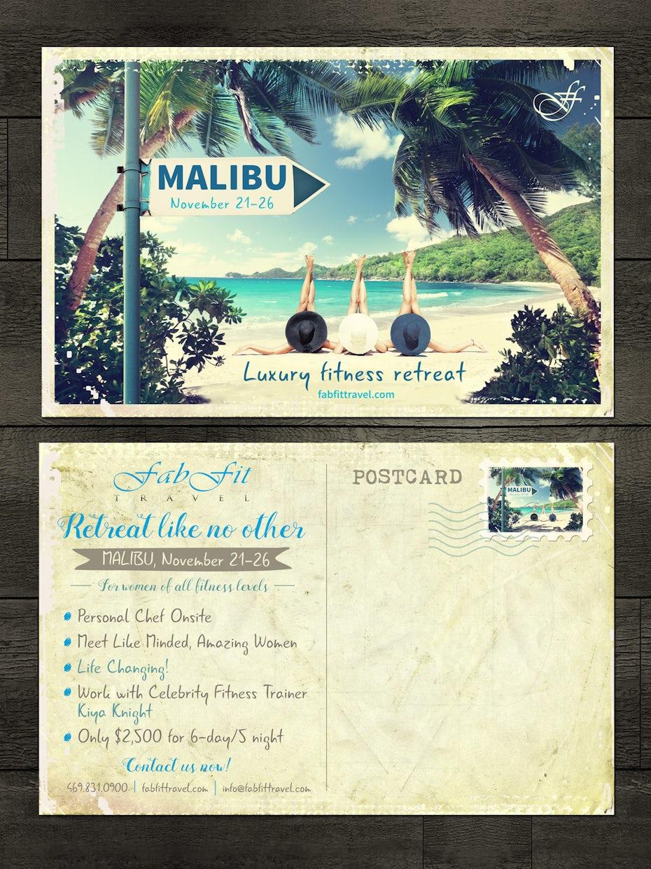 Malibu travel postcard for fitness travel company