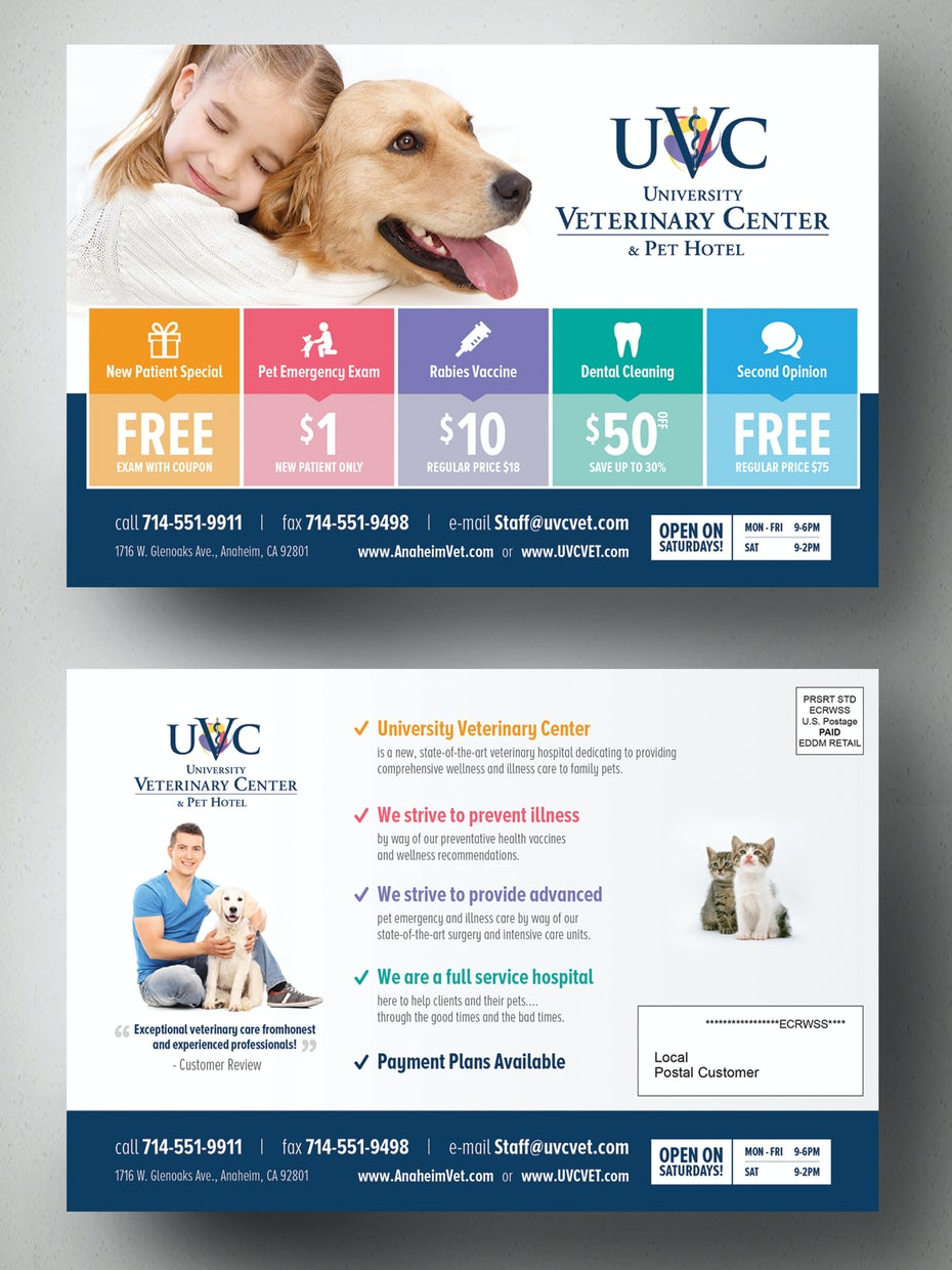 Flyer for a vet hospital