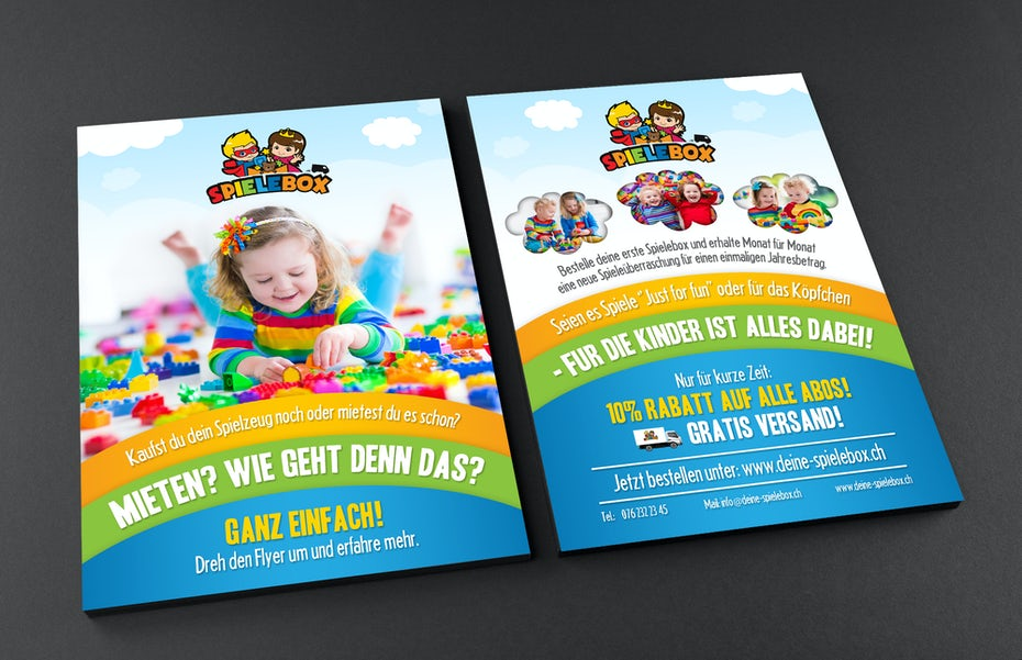 Colorful subscription flyer for toy company