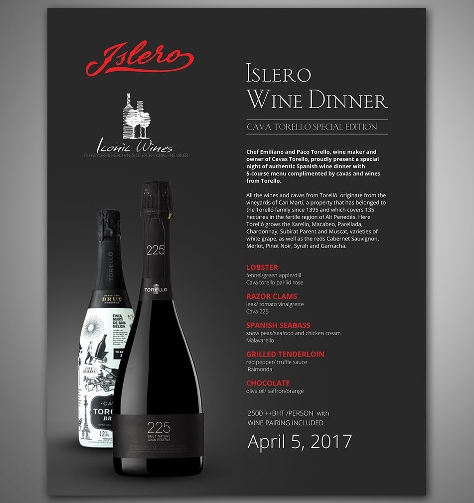 Black flyer for wine company