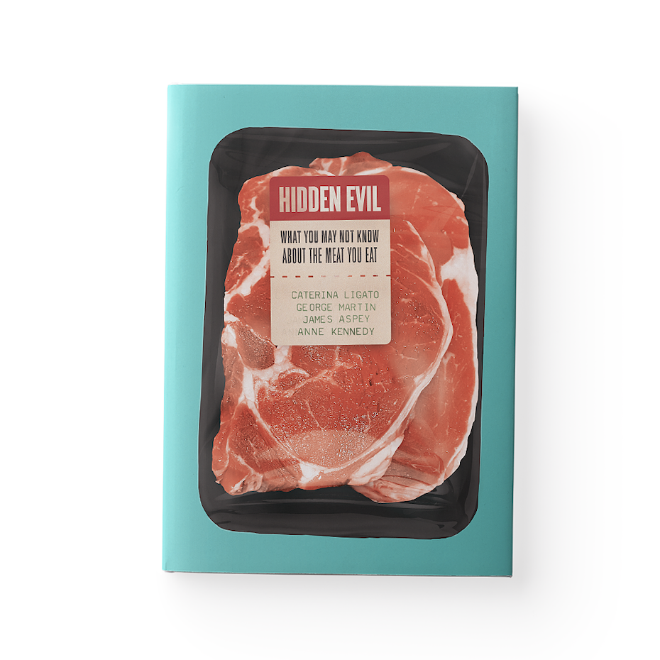 A book cover inspired by meat packaging