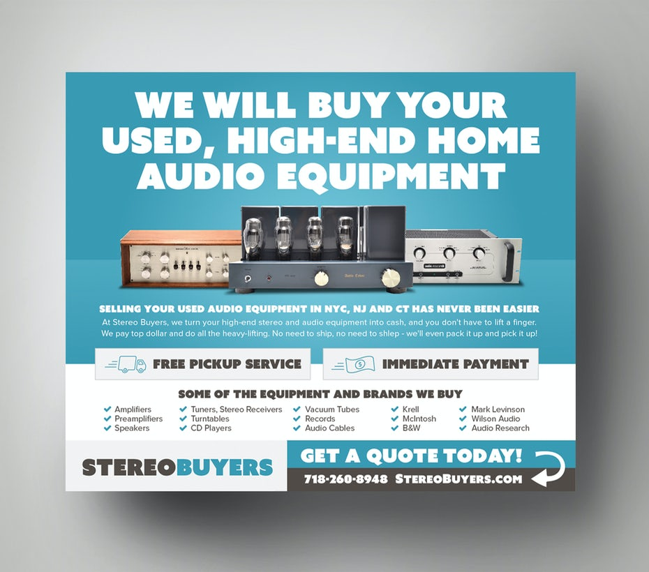 Flyer for company that buys pre-end audio equipment
