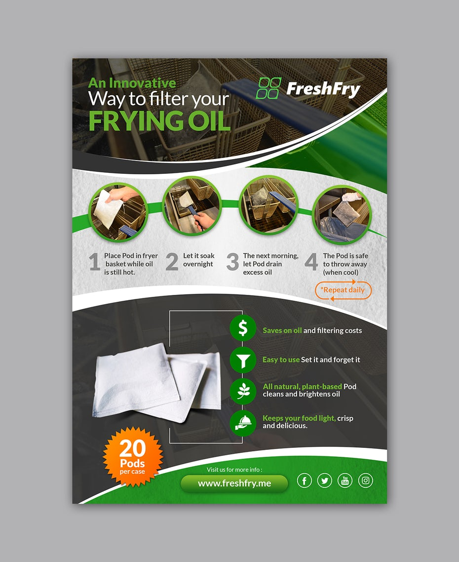 Flyer for frying oil filter company