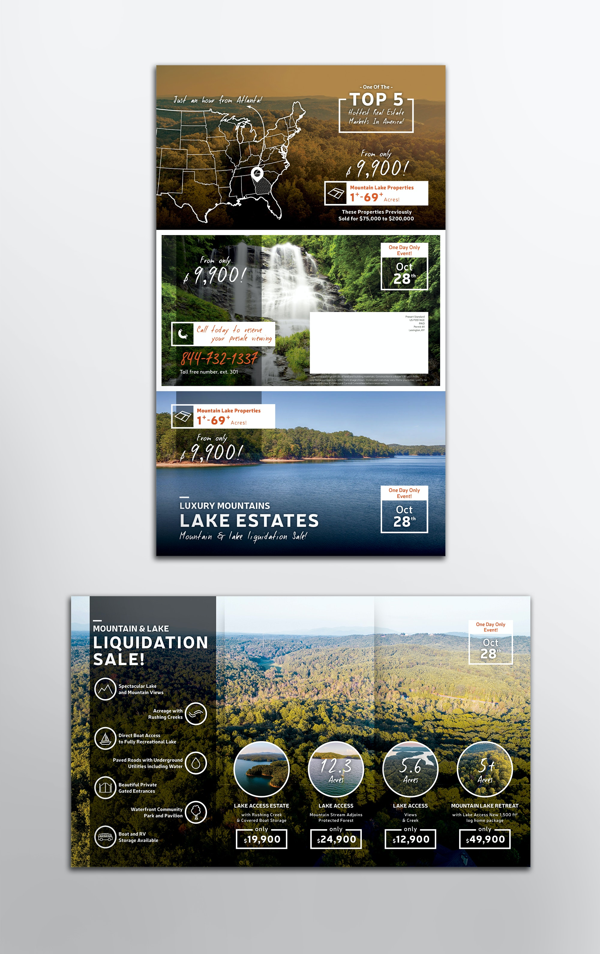 Trifold flyer for lake estates company