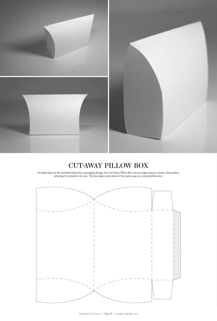 Pillow box packaging dielines