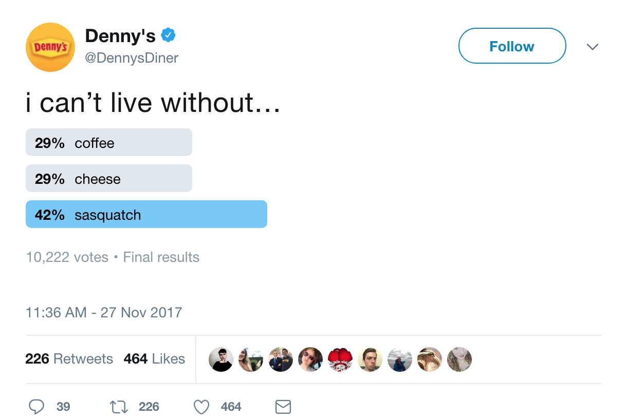 Denny's Twitter quiz