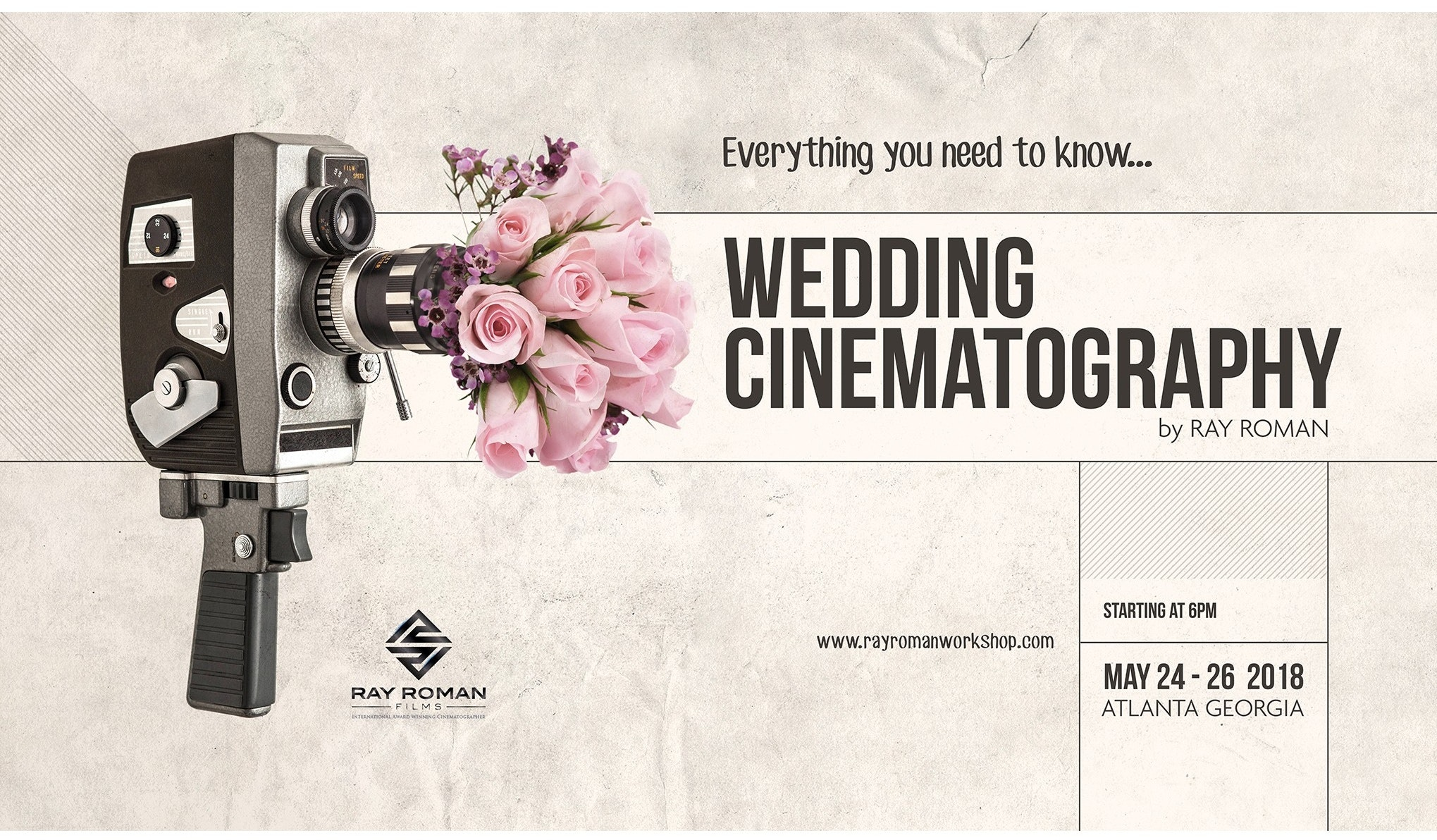 Poster for a workshop on wedding cinematography