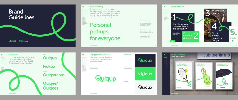 brand guidelines for Quiqup with flowing lines