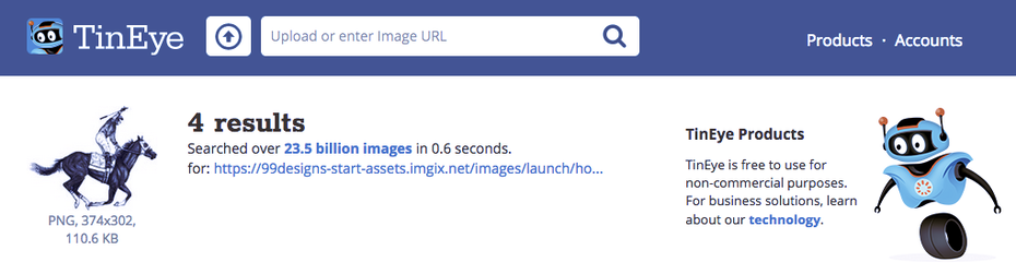 Screenshot of a reverse image search from TinEye