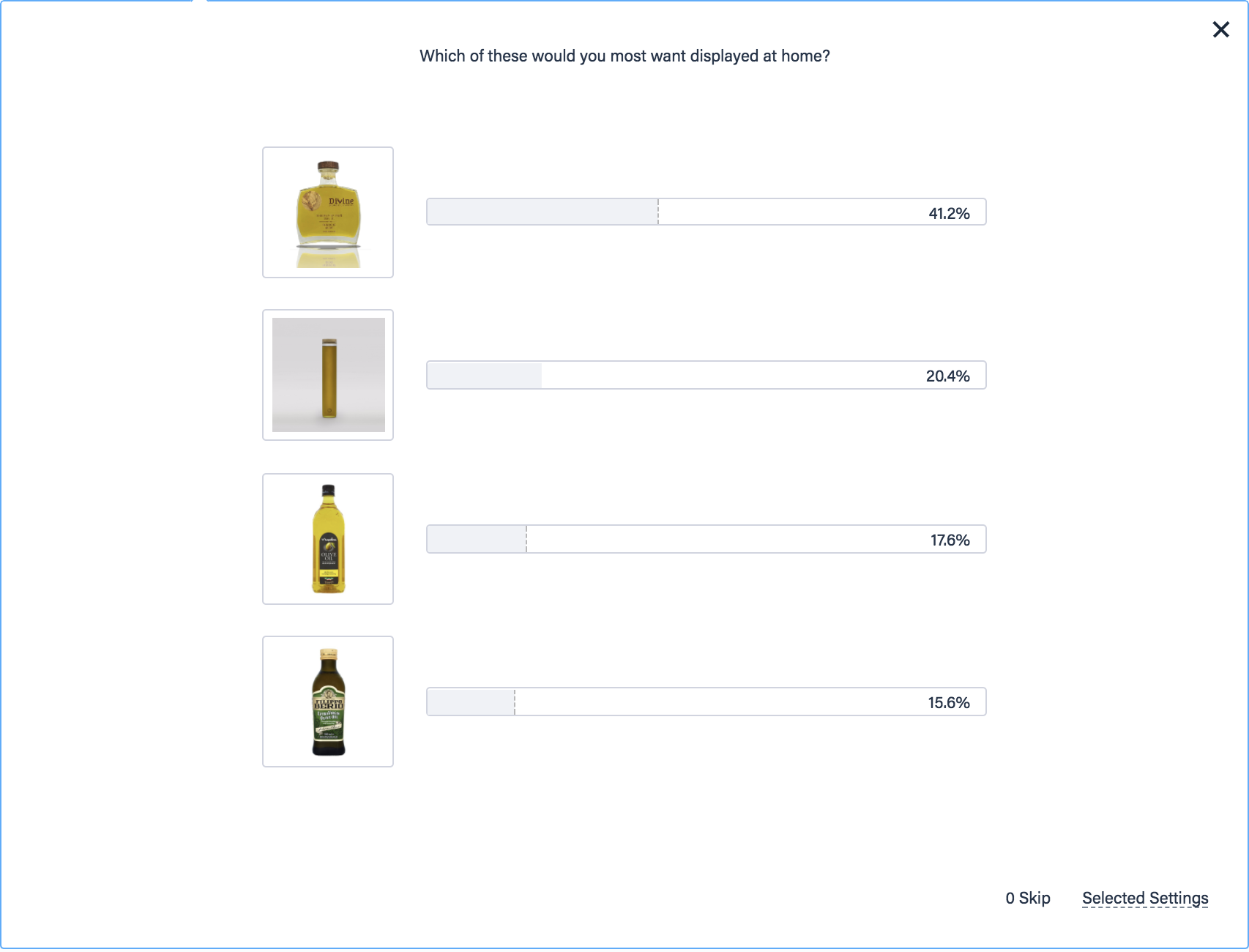Survey results of olive oil preferences