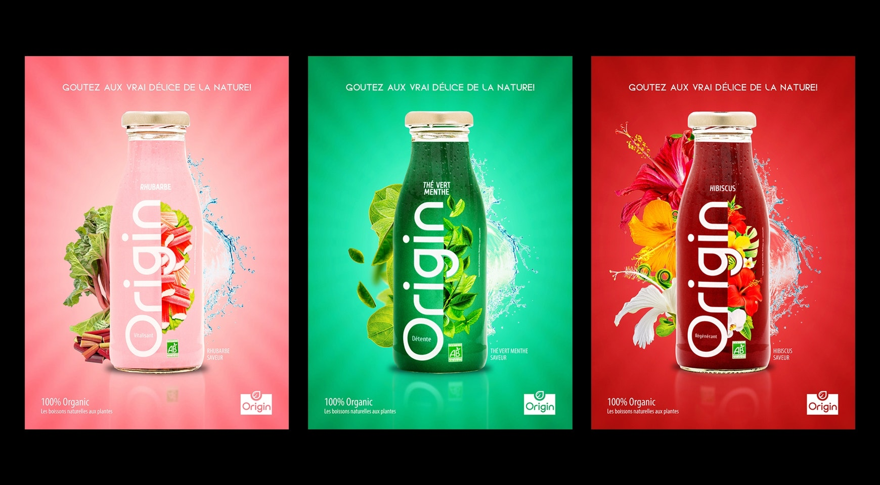 posters for juice company in three colors