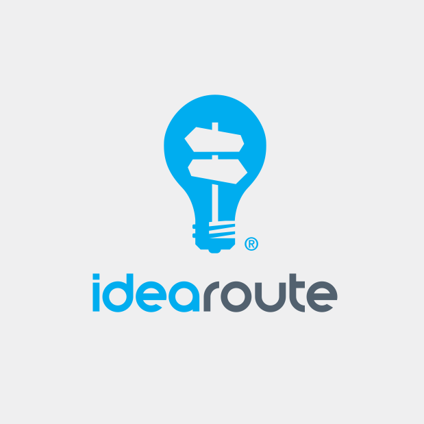 Lightbulb logo design for idearoute