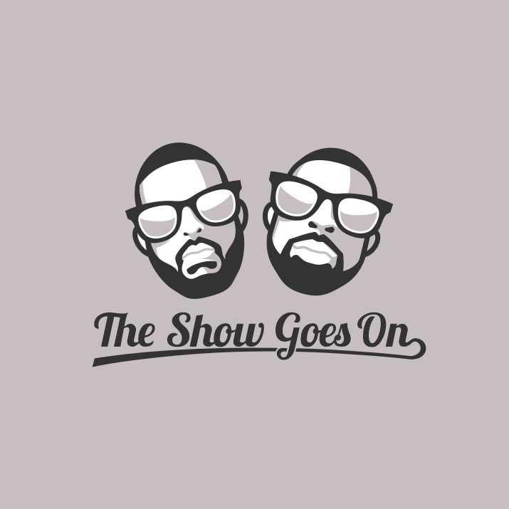 illustration of two heads for podcast logo