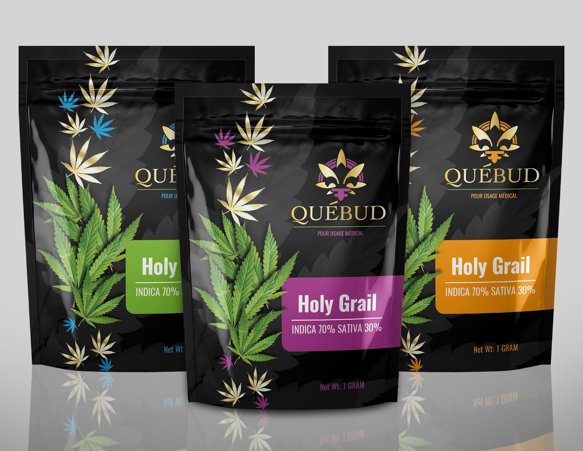 Colorful packaging design for quebud