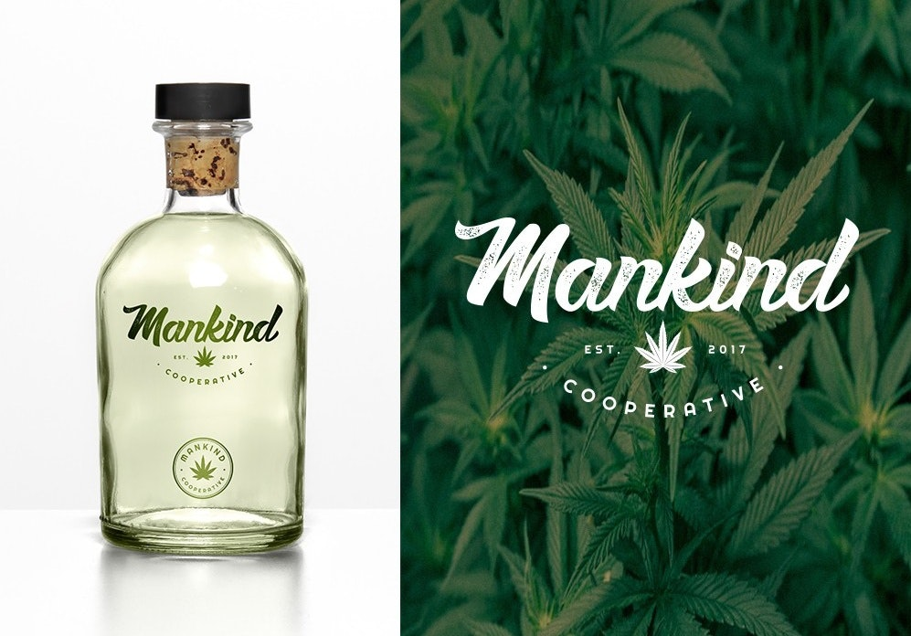 Simple handwritten cannabis logo design