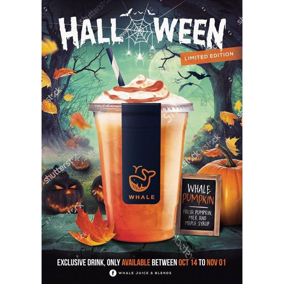 Halloween poster for Whale Juice & Blends
