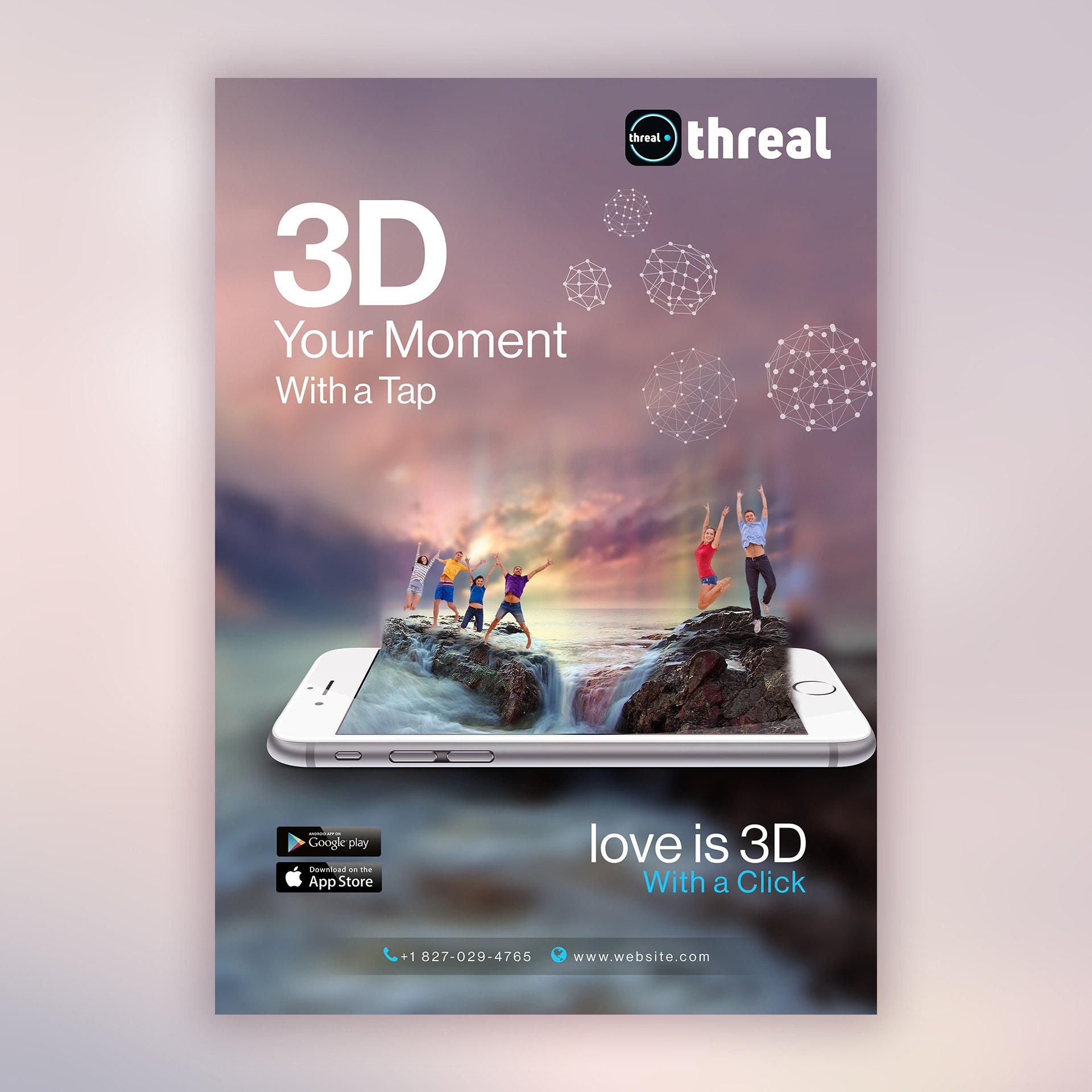 eye-catching poster design for a 3D company