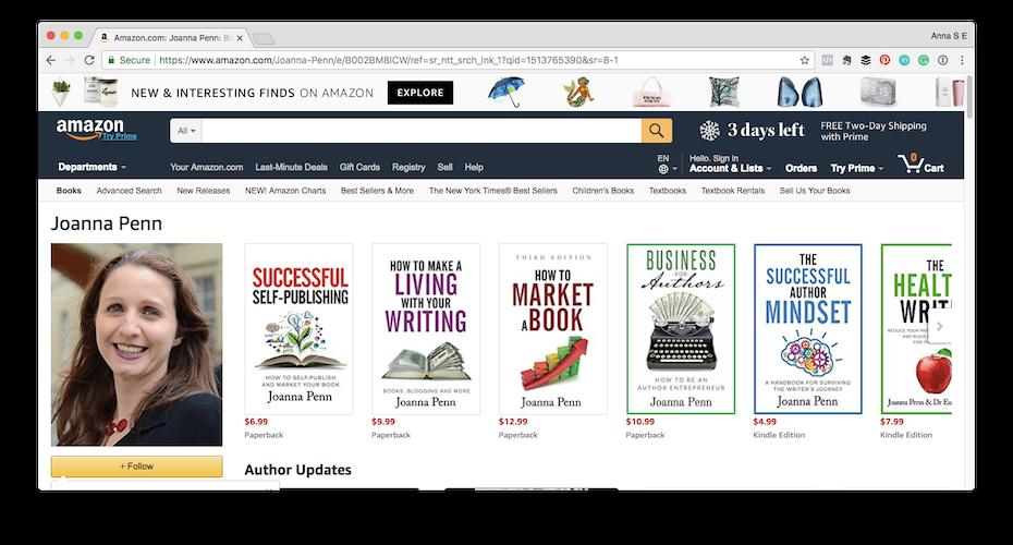 Joanna Penn's author page on Amazon