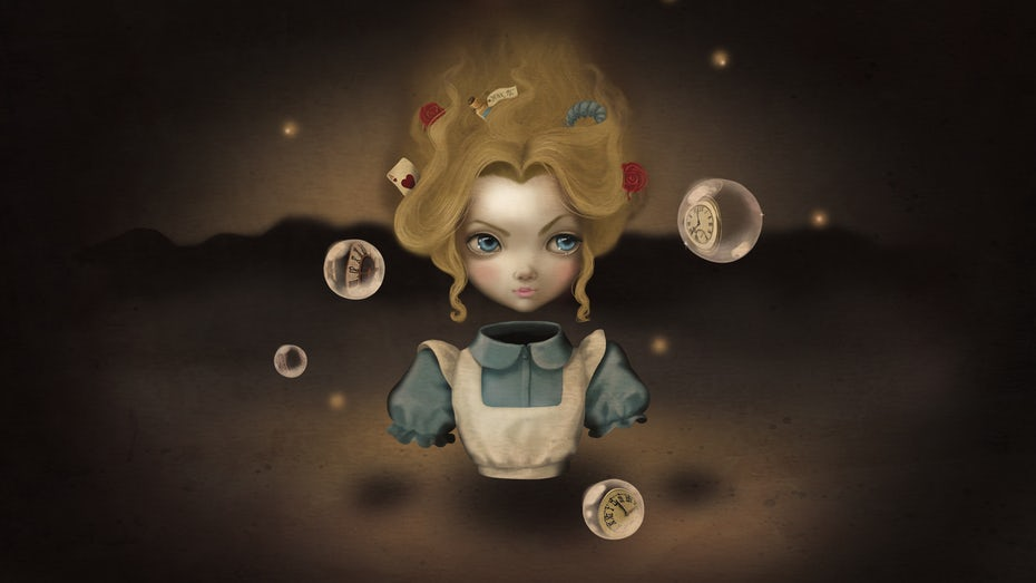 surrealistic alice in wonderland creative desktop wallpaper