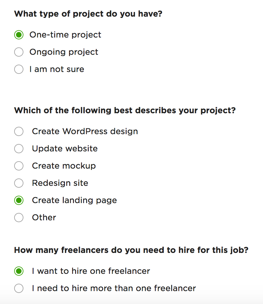 upwork brief options