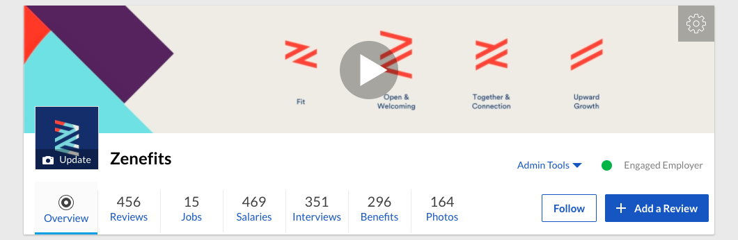 A picture from Zenefits' Glassdoor profile