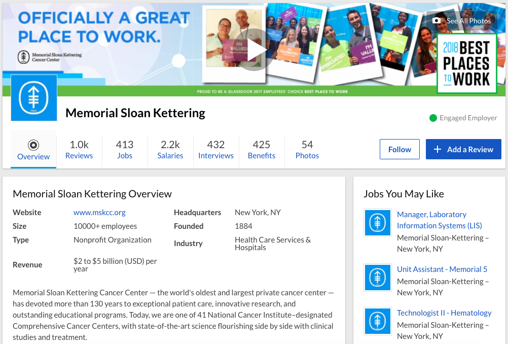 Memorial Sloan Kettering Glassdoor profile