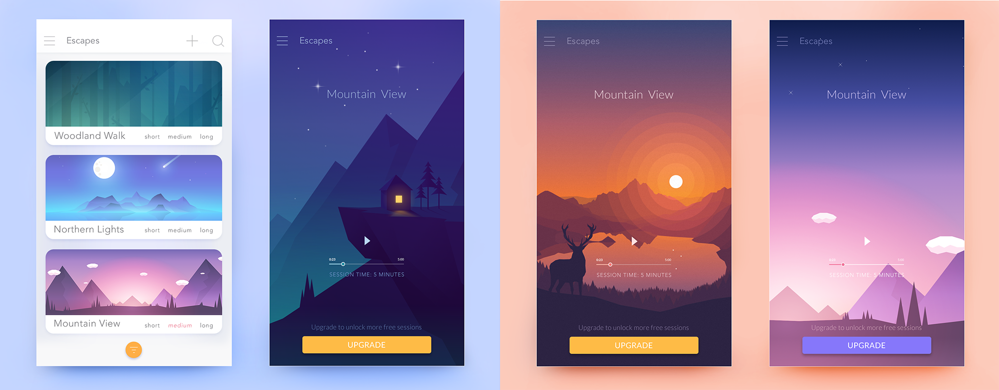 Meditation app UI design