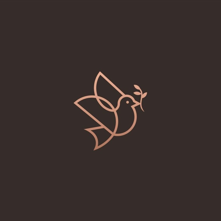 Monoline bird logo design