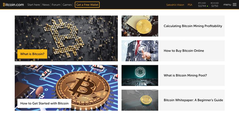 screenshot from Bitcoin website