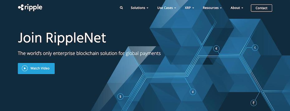 Screenshot from Ripple website